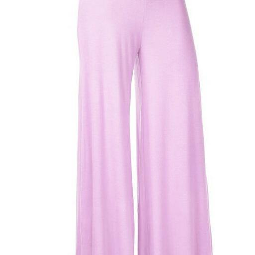 Women Slim Flare Pants High Waist Long Trousers Casual Office Work Wide Leg Trousers lilac