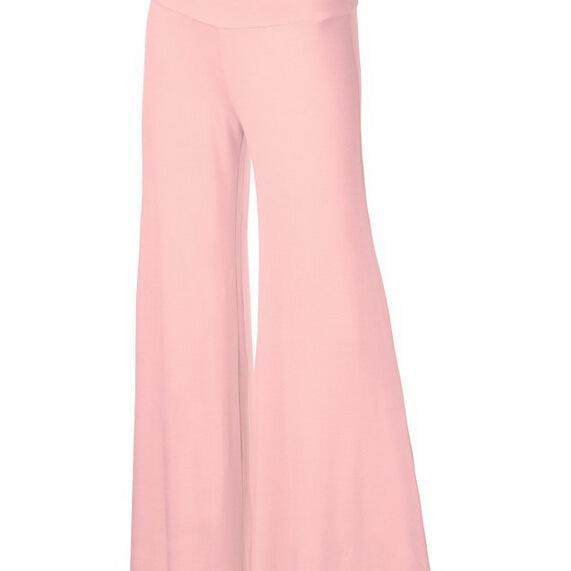 Women Slim Flare Pants High Waist Long Trousers Casual Office Work Wide Leg Trousers pink