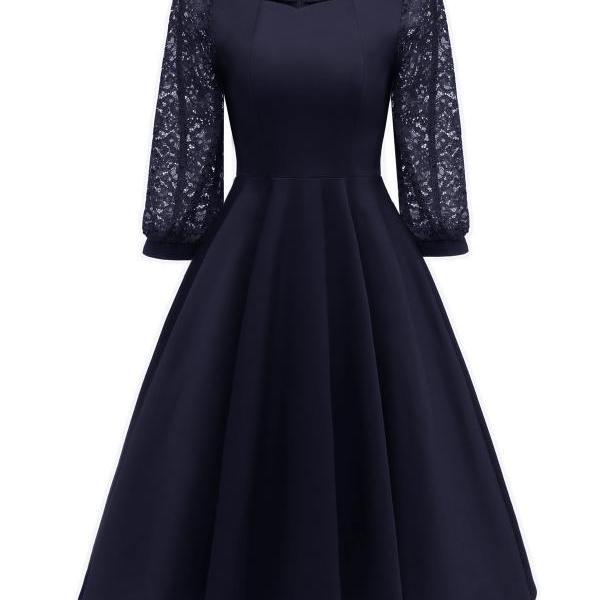 Vintage 50 60s Lace Dress Women Square Collar 3/4 Sleeve Rockabilly Evening Party Dress navy blue