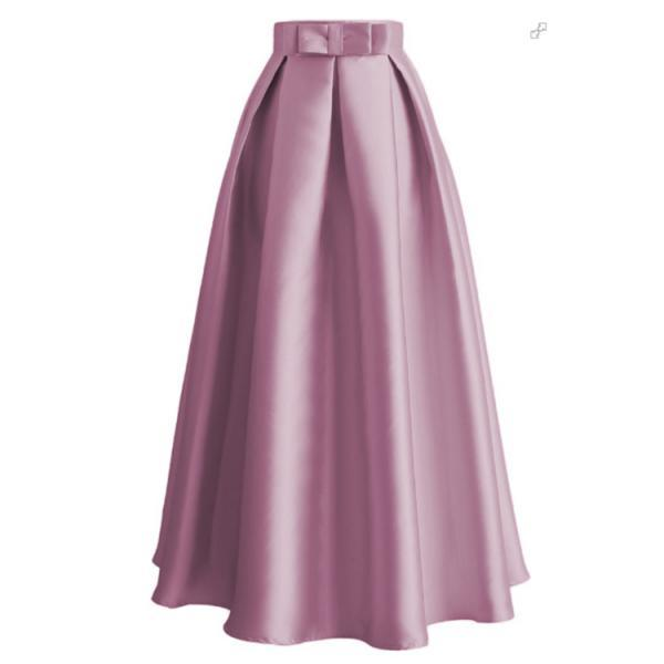 Plain Muslim Women Casual Maxi Pleated Skirts High Waist Ladies A Line Long Skater Skirt pink