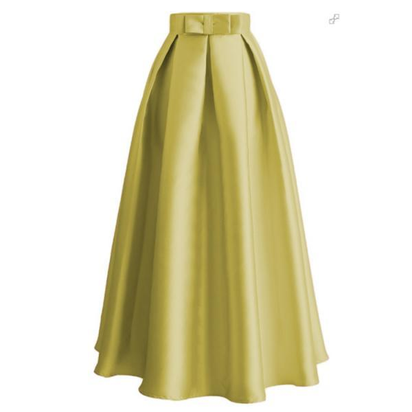 Plain Muslim Women Casual Maxi Pleated Skirts High Waist Ladies A Line Long Skater Skirt yellow