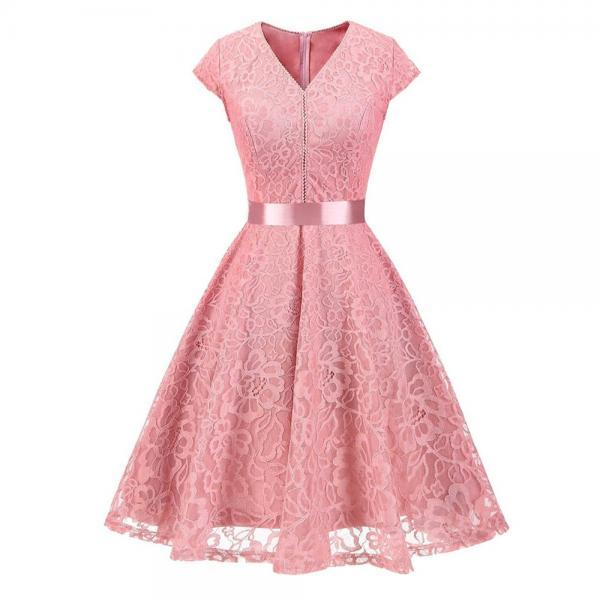 Women V-Neck Floral Lace Dress Belted Cap-Sleeve A Line Cocktail Work Office Party Dress pink