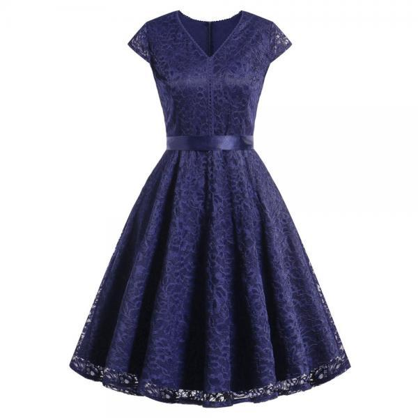 Women V-Neck Floral Lace Dress Belted Cap-Sleeve A Line Cocktail Work Office Party Dress navy blue