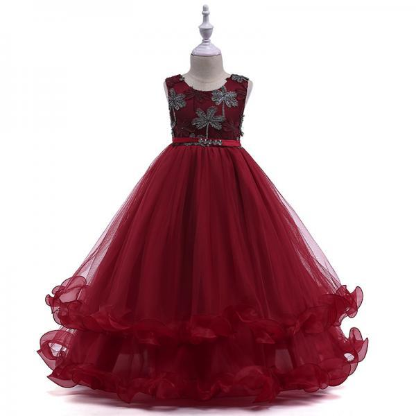 Embroidery Long Flower Girl Dress Kids Princess Party Birthday Gown Belted Children Clothes burgundy