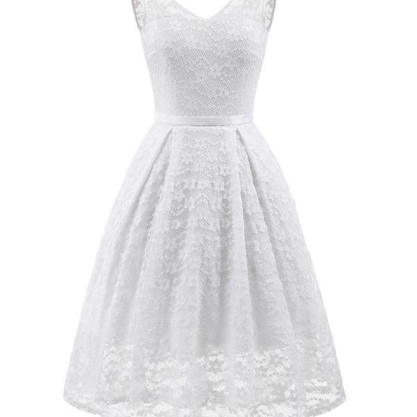 Vintage High Low Floral Lace Dress V Neck Backless Belted Women A Line Cocktail Party Dress off white