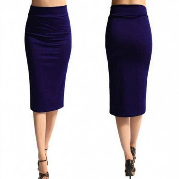 Slim Pencil Skirt High Waist Knee Length Casual Work Office Solid Sheath Bodycon Skirt purple