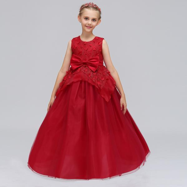 Long Flower Girl Dress Princess Lace Bow Birthday Formal Party Gowns Children Clothes burgundy