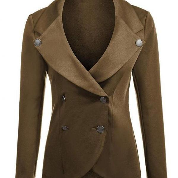 Women Slim Blazer Coat Spring Autumn Casual Long Sleeve Double-Breasted OL Work Suit Jacket brown