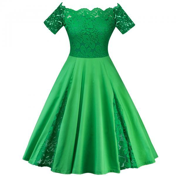 Off The Shoulder Women Dress Plus Size Lace Patchwork Short Sleeve Cocktail Party Dress green