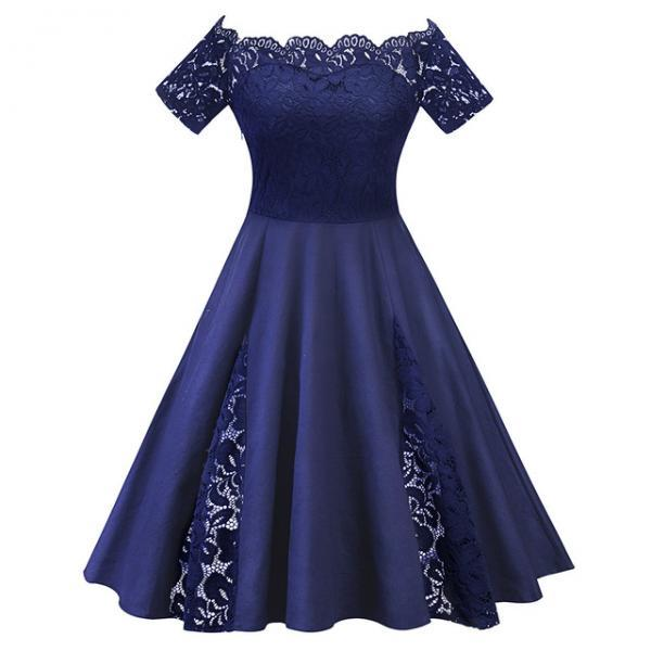 Off The Shoulder Women Dress Plus Size Lace Patchwork Short Sleeve Cocktail Party Dress navy blue
