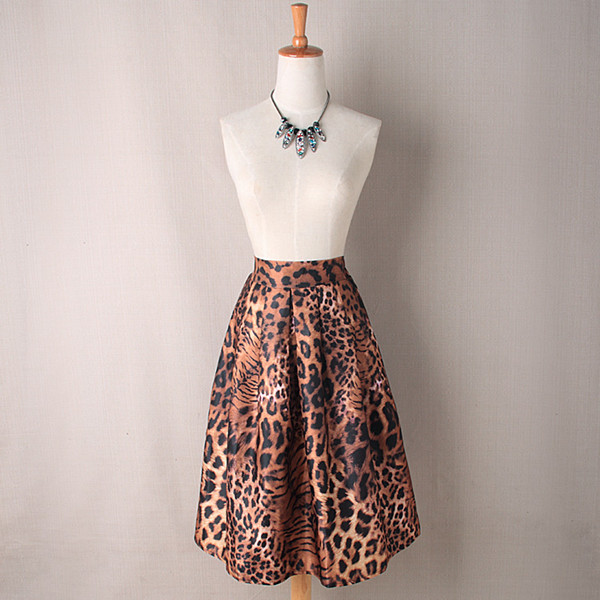 Tiger Print High Rise Ruffled A-Line Midi Skirt