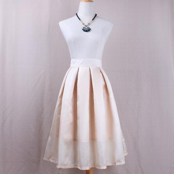 Simple Women A Line Midi Skirt High Waist Pleated Solid Office Work Skater Skirt apricot