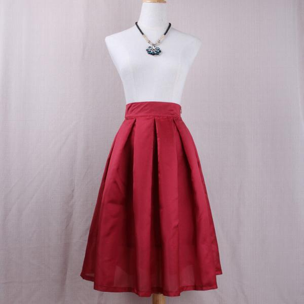 Crimson Red High Rise Midi Ruffled Skater Skirt