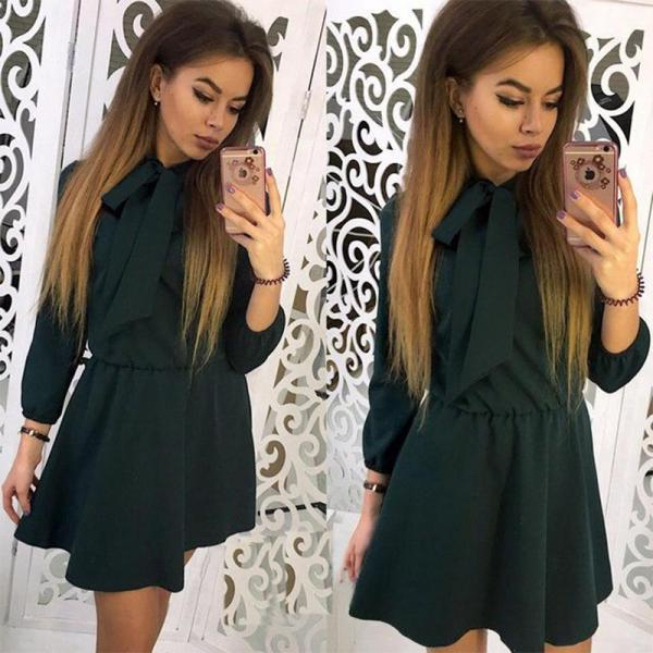Women Summer Casual Dress 3/4 Sleeve Solid Bow Tie A-Line Mini Club Party Dress hunter green