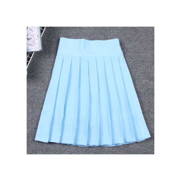 Harajuku JK Summer Skirt Women High Waist Cosplay Solid Girl Mini Pleated Skirt baby blue