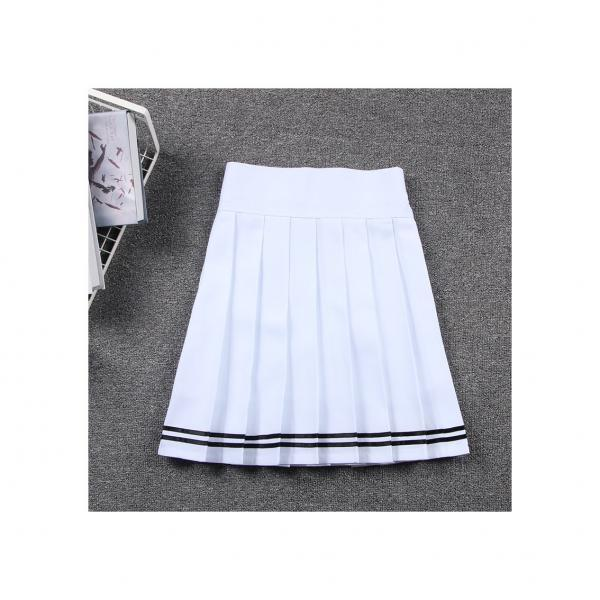 Harajuku JK Summer Skirt Women High Waist Cosplay Solid Girl Mini Pleated Skirt off white+black