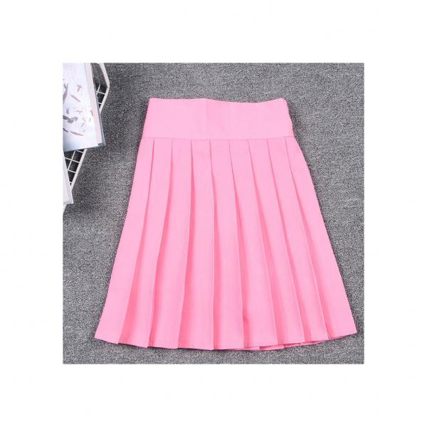 Harajuku JK Summer Skirt Women High Waist Cosplay Solid Girl Mini Pleated Skirt pink