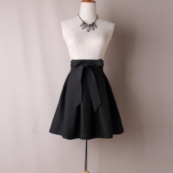 Black High Rise Short Ruffled Skater Skirt with Bow Accent Belt