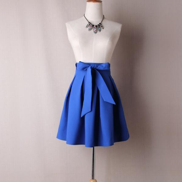 Women A Line Midi Skirt High Waist Bow Belted Office Work Pleated Tutu Short Skater Skirt blue
