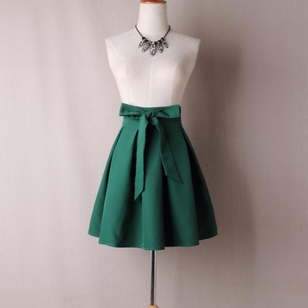 Forest Green High Rise Short Ruffled Skater Skirt with Bow Accent Belt