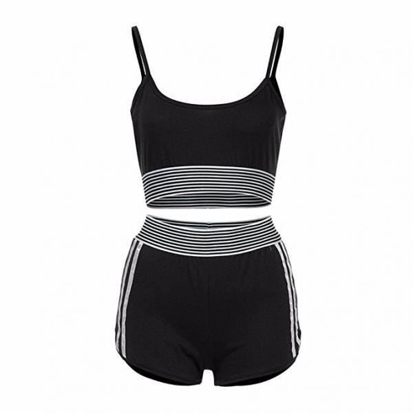 Fashion Summer Two Pieces Sets Crop Top+ Shorts Suit Striped Women Tracksuit Sportwear Outfits black