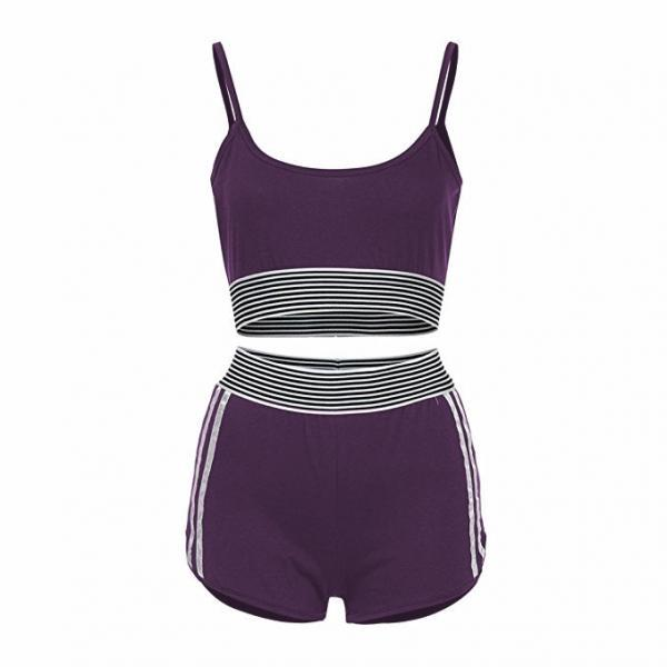 Fashion Summer Two Pieces Sets Crop Top+ Shorts Suit Striped Women Tracksuit Sportwear Outfits purple