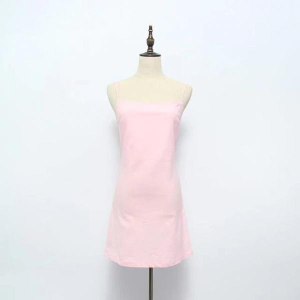 Women Summer Beach Dress Sexy Spaghetti Strap Sleeveless Tie Back Bow Casual Slim Mini Party Sundress pink
