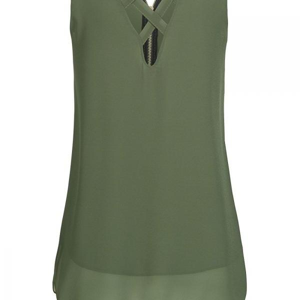 Plus Size Summer Tank Top Women Tunic Zipper V Neck Sleeveless Criss Cross Casual Vest army green