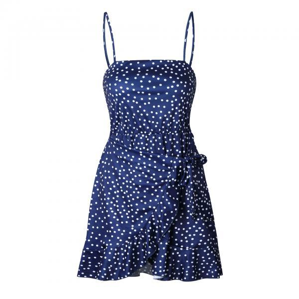 Sexy Summer Dress Ruffle Women Spahetti Strap Pineapple/Leaf/Polka Dot Printed Boho Beach Mini Sundress navy blue