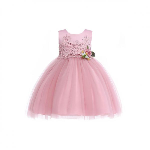 Pastoral Flower Girl Dress Lace Kids Princess Formal Birthday Party Gown Children Clothes blush