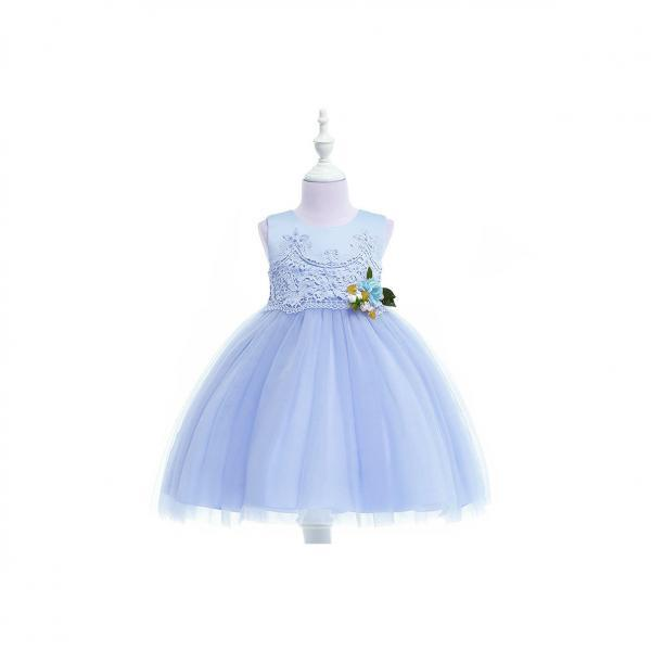 Pastoral Flower Girl Dress Lace Kids Princess Formal Birthday Party Gown Children Clothes light blue