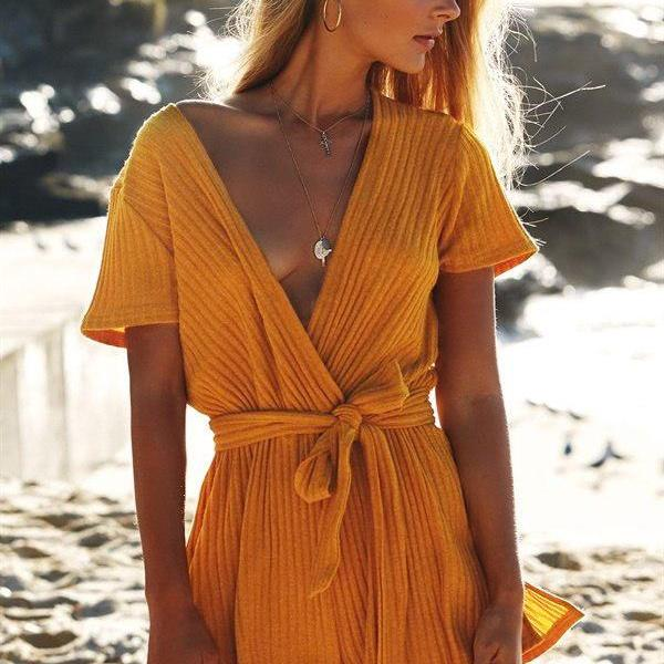 Sexy Short Jumpsuit Women V Neck Short Sleeve Romper Casual Belted Beach Playsuit yellow