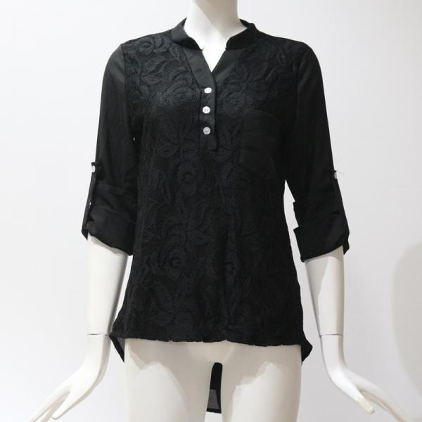 Women Tunic Chiffon Loose Blouse Floral Lace V Neck Long Sleeve Work OL Ladies Top Shirts black