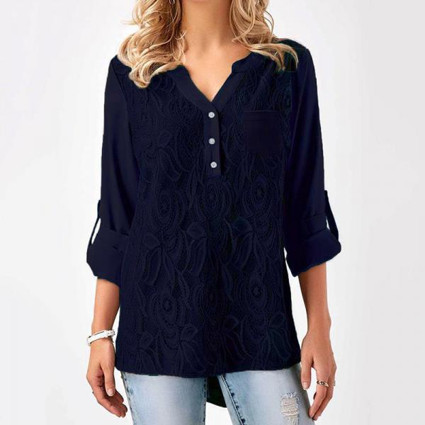 Women Tunic Chiffon Loose Blouse Floral Lace V Neck Long Sleeve Work OL Ladies Top Shirts navy blue