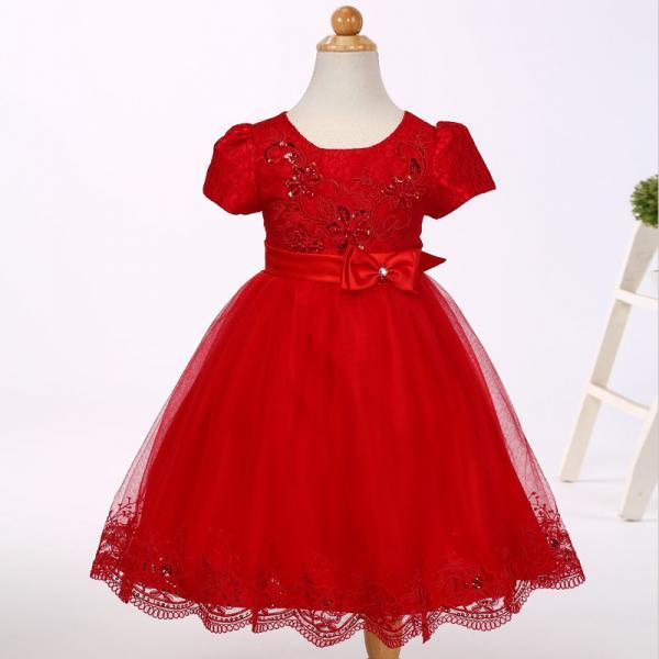 Lace Flower Girl Dress Short Sleeve Christening First Birthday Party Wedding Baby Kids Clothes red