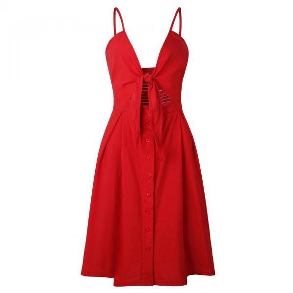 Sexy Bow Beach Summer Casual Dress Backless Button Spaghetti Strap V Neck Boho Midi Sundress 0723-red