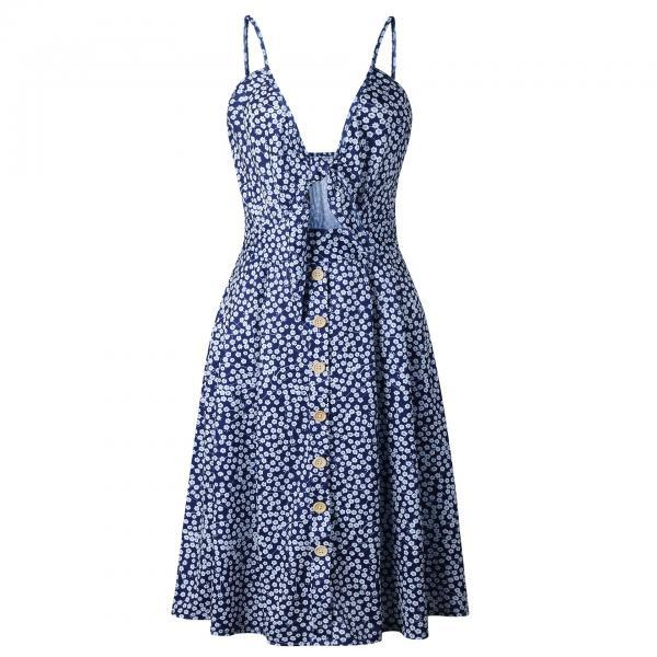 Sexy Bow Beach Summer Casual Dress Backless Button Spaghetti Strap V Neck Boho Midi Sundress 0848-navy blue