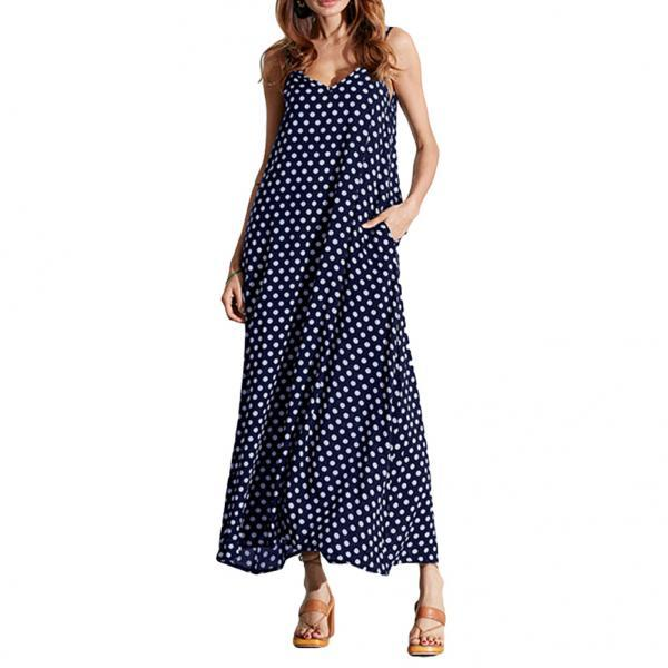 Women Summer Beach Maxi Dress Plus Size Spaghetti Strap Sleeveless Polka Dot Loose Long Sundress  navy blue