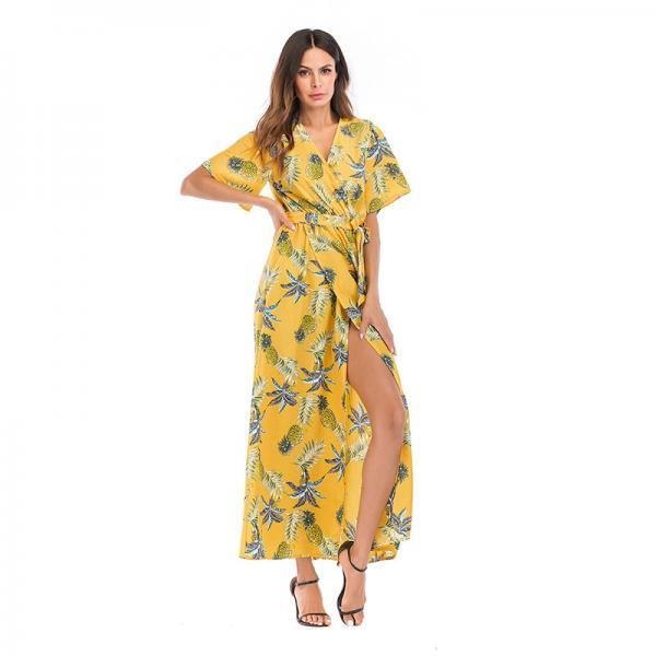 Women Summer Floral Printed Maxi Dress Boho Short Sleeve V-Neck Split Belted Beach Long Dress11#
