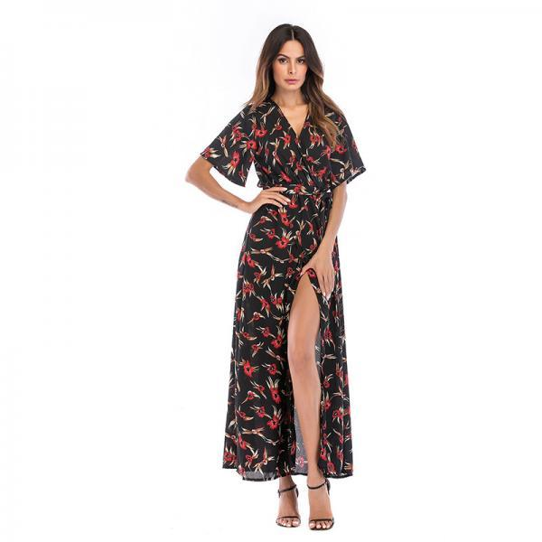 Women Summer Floral Printed Maxi Dress Boho Short Sleeve V-Neck Split Belted Beach Long Dress12#