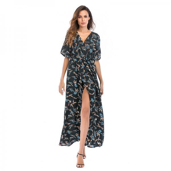 Women Summer Floral Printed Maxi Dress Boho Short Sleeve V-Neck Split Belted Beach Long Dress13#