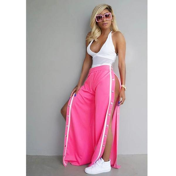 Women Wide Leg Button Track Pants Striped Patchwork Rivet Side Slit High Waist Summer Casual Long Trousers deep pink
