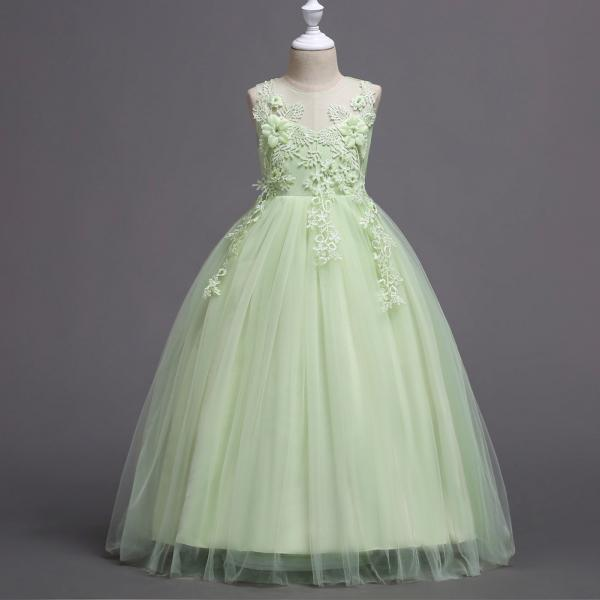Long Lace Flower Girl Dress Teens Wedding Formal Party Gowns Children Clothes light green