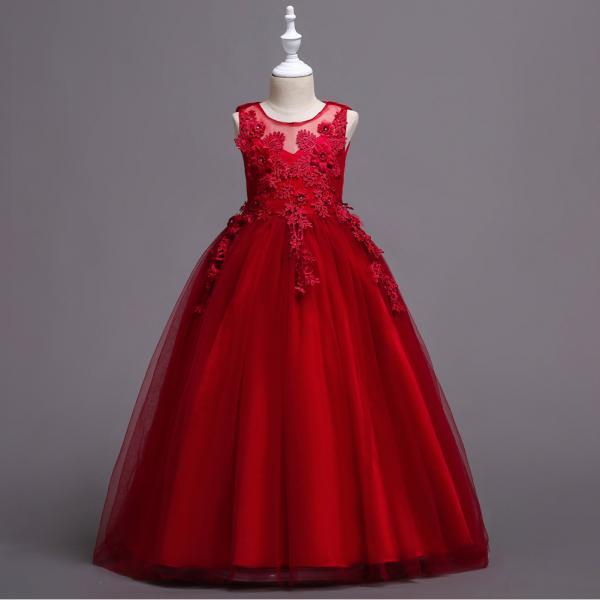 Long Lace Flower Girl Dress Teens Wedding Formal Party Gowns Children Clothes red