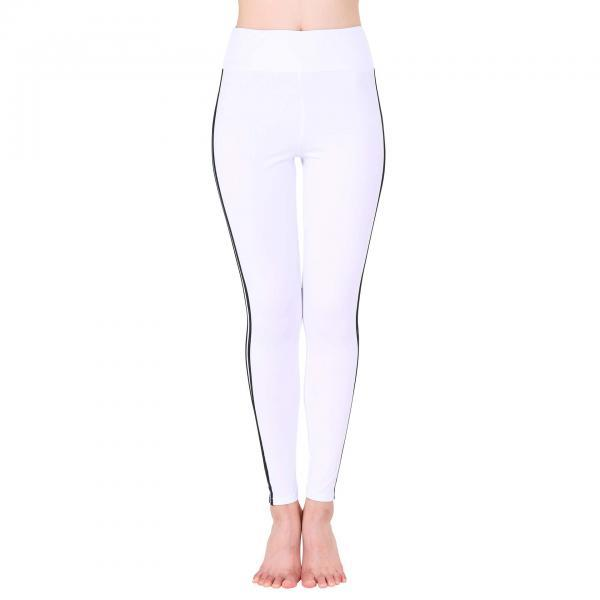Women Yoga Striped Patchwork Leggings Slim High Waist Sports Fitness Gym Running Pants off white