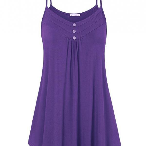 Plus Size Women Tank Tops Summer Casual Spaghetti Strap Button Vest Sleeveless T Shirt purple