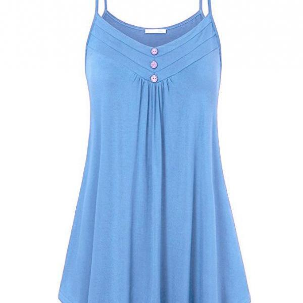 Plus Size Women Tank Tops Summer Casual Spaghetti Strap Button Vest Sleeveless T Shirt sky blue