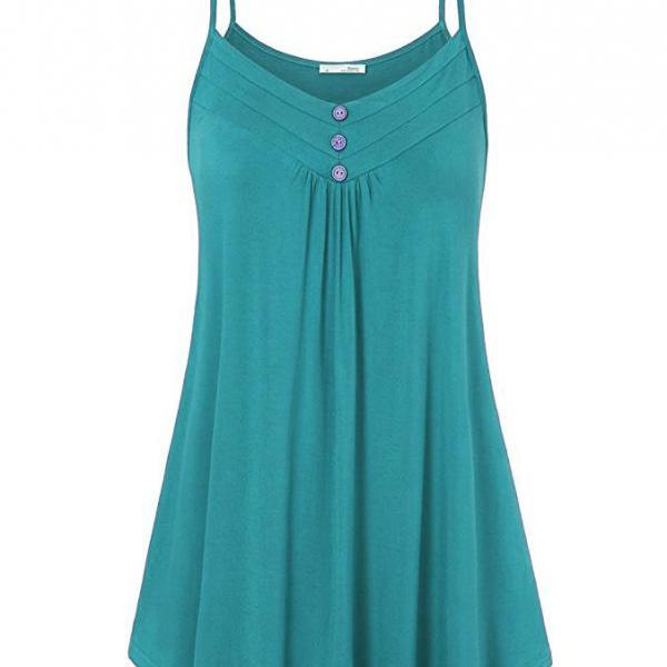 Plus Size Women Tank Tops Summer Casual Spaghetti Strap Button Vest Sleeveless T Shirt turquoise