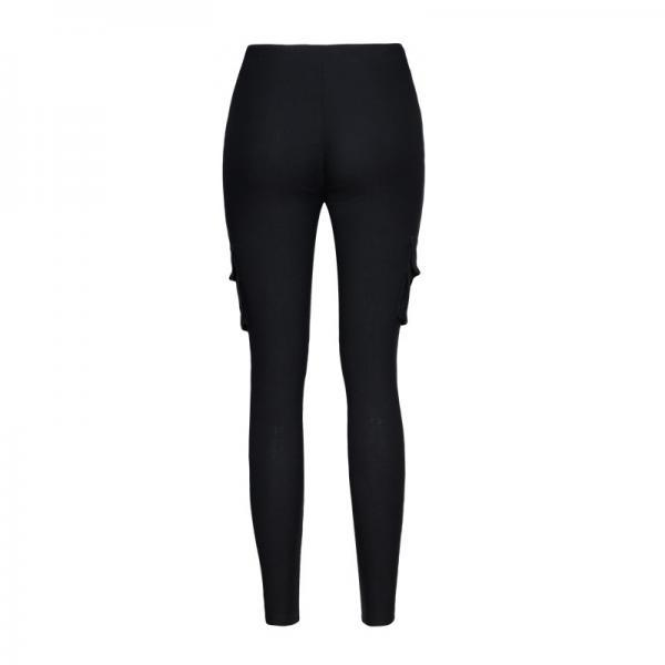 Women Pencil Pants Drawstring High Waist Pockest Skinny Slim Casual Long Trousers black