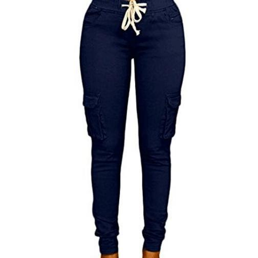Women Pencil Pants Drawstring High Waist Pockest Skinny Slim Casual Long Trousers navy blue